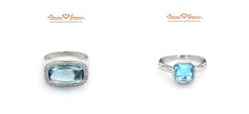 Cushion Cab Blue Topaz Ring,  Square Pyramid Cut Blue Topaz Ring