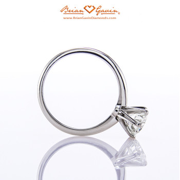 A side view of Crystal's Tapered Tiffany-Style Half Round Ring.