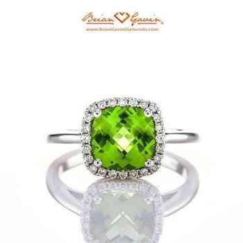 Cushion Peridot Halo Ring