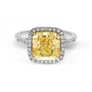 Fancy Light Yellow Cushion 4.22ct Diamond Ring