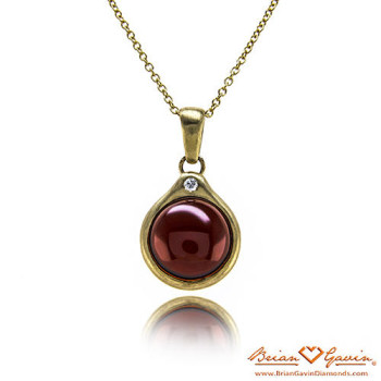 Round Cab Garnet Halo Necklace