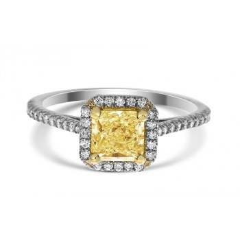 Light to Fancy Light Yellow Radiant 0.96ct Diamond Ring