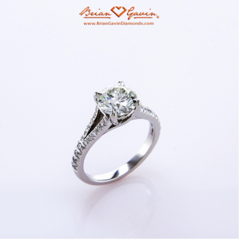 Split Shank X-Prong Engagement Ring with Pave Setting