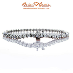 BGD 14K White Gold Three Prong Tennis Bracelet