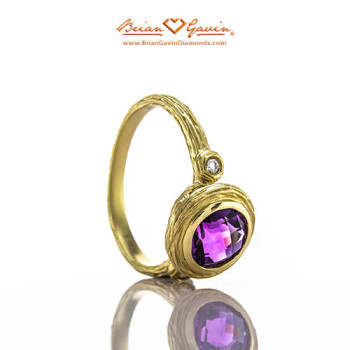 Round Bark Amethyst Gold Ring