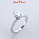 Tapered Classic Style Half Round 18K White Gold