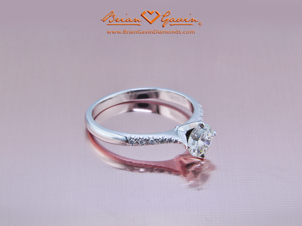 BGD Valentine Micro Pave Engagement Ring in 18K White Gold - Brian Gavin Diamonds