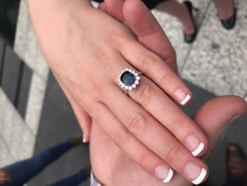 Dustin and Summer Brian Gavin Diamonds Sapphire Ring