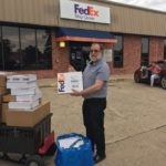 Thumbs up for great customer service! Through flood waters and traffic jams, Brian Gavin Diamonds safely arrived to FedEx in College Station to deliver customer orders on time.