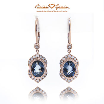 Oval Checkerboard London Blue Topaz Leverback Earrings bgd