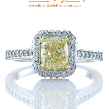 Fancy Orangy Yellow Cushion 1.20ct Diamond Ring