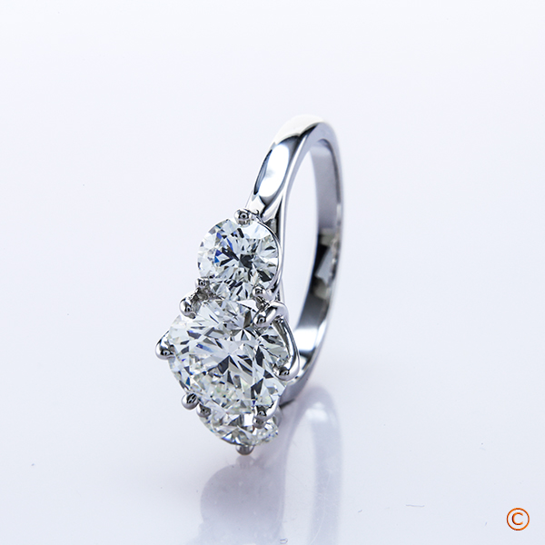 Custom Platinum Crown Style Trellis 3 Stone Ring With Brian Gavin Signature Hearts And Arrows Diamonds
