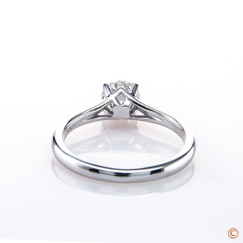 0.522 ct F VS1 Black By Brian Gavin Round With Hearts And Arrows Set In The Simone 14k White Gold Ring