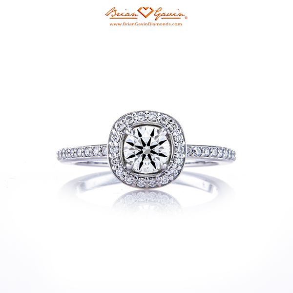 18K White Gold Semi-set Cushion Halo Engagement Ring with a Brian Gavin Signature 0.421 I VS1 Diamond