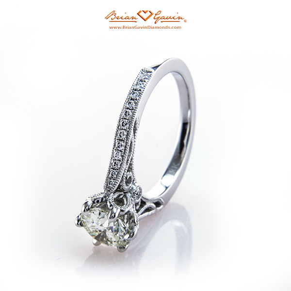 Parade Design Hera Bridal Band With A 1.072 L VVS1 Brian Gavin Signature Hearts And Arrows Round Cut Diamond