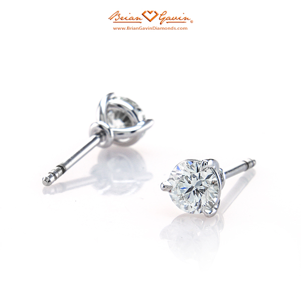 Handmade 18K White Gold Martini Earrings With Brian Gavin Signature Hearts And Arrows Round Diamonds