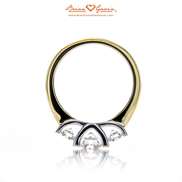 Brian Gavin Signature 3 Stone Half Bezel in 18K Yellow Gold With Platinum Head