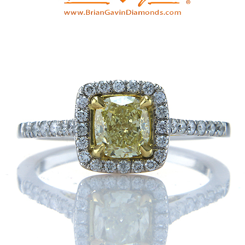 Fancy Yellow Cushion 0.91ct Diamond Ring