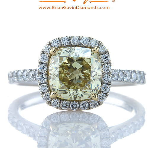 Fancy Brownish Yellow Cushion 2.15ct Diamond Ring