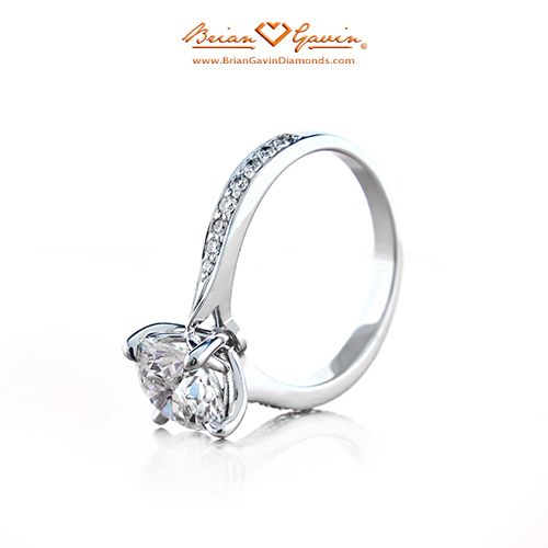 Classic Truth Sleek Micro Pave Engagement Ring Pave Side Stones Diamond Ring