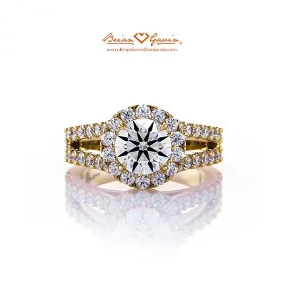 Kristin Split Shank Halo 18K Yellow Gold