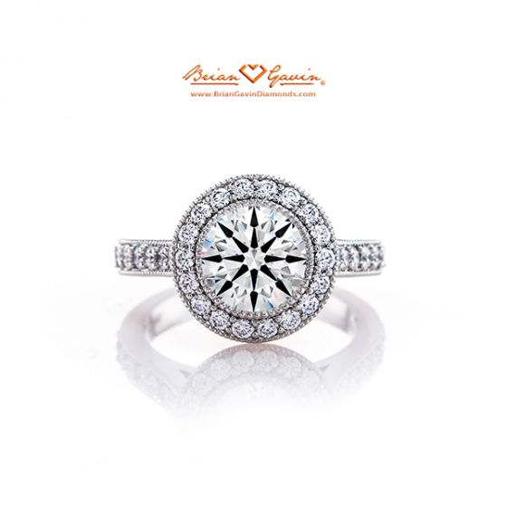 Milgrain Halo Engagement Ring 18K White Gold
