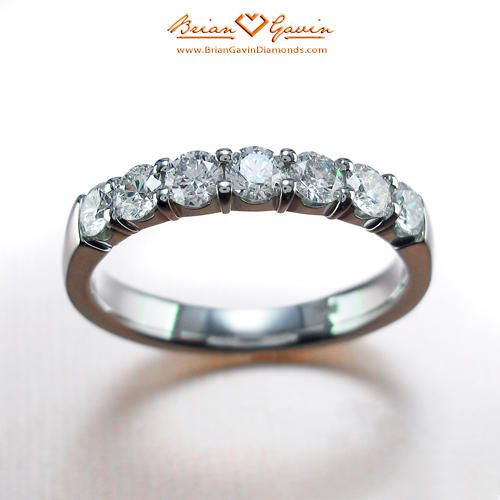 Seven Stone Shared Prong Band 18K White Gold