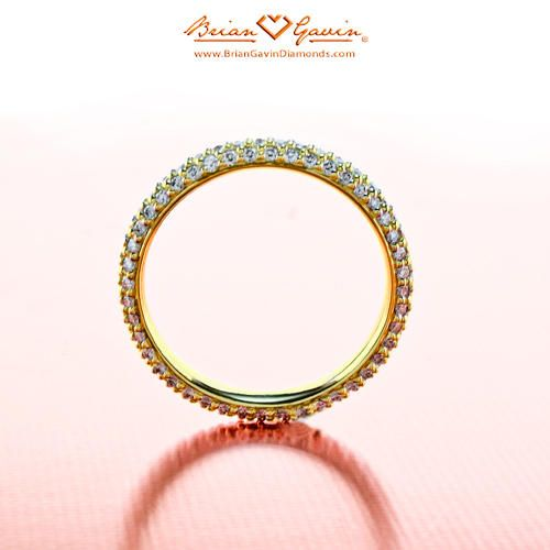 Domed Pave Band 18K Yellow Gold