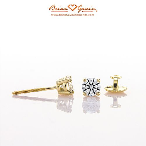 Four Prong Basket Screw Back 14K Yellow Gold
