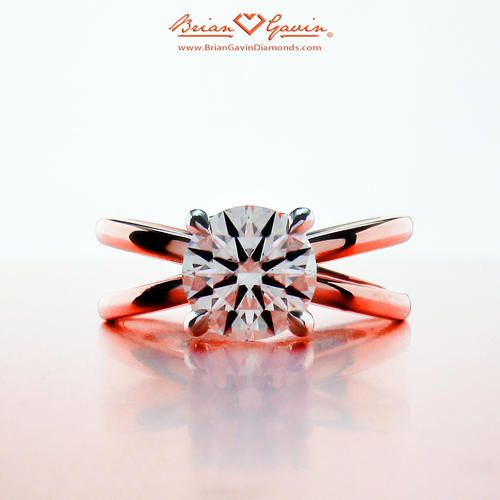 Crossed Solitaire 18K Rose Gold