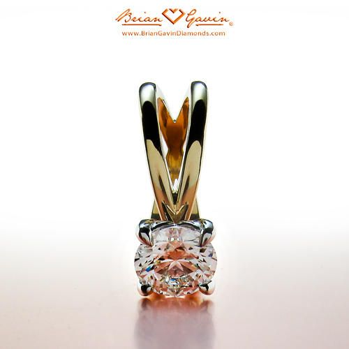 Crossed Solitaire 18K Yellow Gold