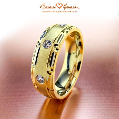 Polished Satin with Diamonds 18K Yellow Gold