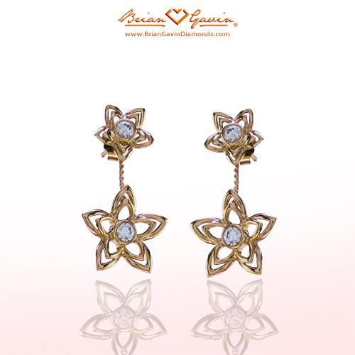 Double Flower Drops 18K Yellow Gold