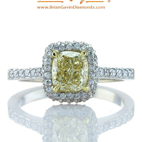 Fancy Yellow Cushion 1.05ct Diamond Ring