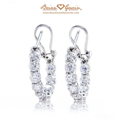 2.88ct Glittering Diamond Hoop Earrings 14K White Gold