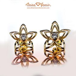 Flowers Large Studs 18K Yellow Gold