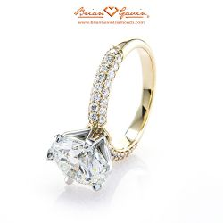 3 Row Domed Pave Solitaire