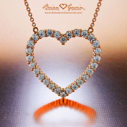 Modern Open Heart Pendant 18K Rose Gold