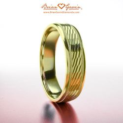 Patterned and Milgrain Band 18K Yellow Gold