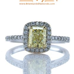 Fancy Light Yellow Radiant 1.01ct Diamond Ring