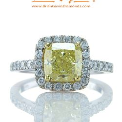 Fancy Intense Yellow Cushion 2.09ct Diamond Ring