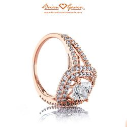 Split Shank Double Halo 18K Rose Gold