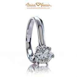 Crown Solitaire 18K White Gold