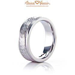 Patterned and Milgrain Band 18K White Gold