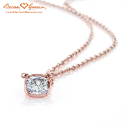 Hand Made Cushion Bezel Pendant 18K Rose Gold