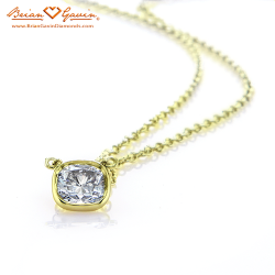 Hand Made Cushion Bezel Pendant 18K Yellow Gold