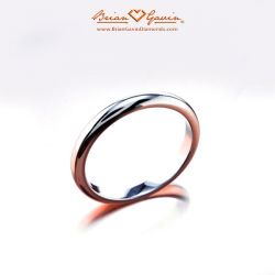 Half Round Band - Size: 5.75 - 18k White Gold
