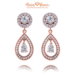 Hearts Jackets with Halo Pear Dangles-18K Rose Gold