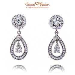 Hearts Jackets with Halo Pear Dangles-Platinum