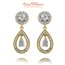 Hearts Jackets with Halo Pear Dangles-18K Yellow Gold